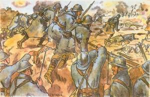 Carte Postale Postcard 1914-1918 Dessin L'Attaque Drawing the Attack